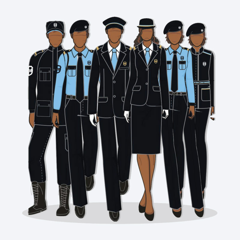Fardas e uniformes para bombeiros e militares