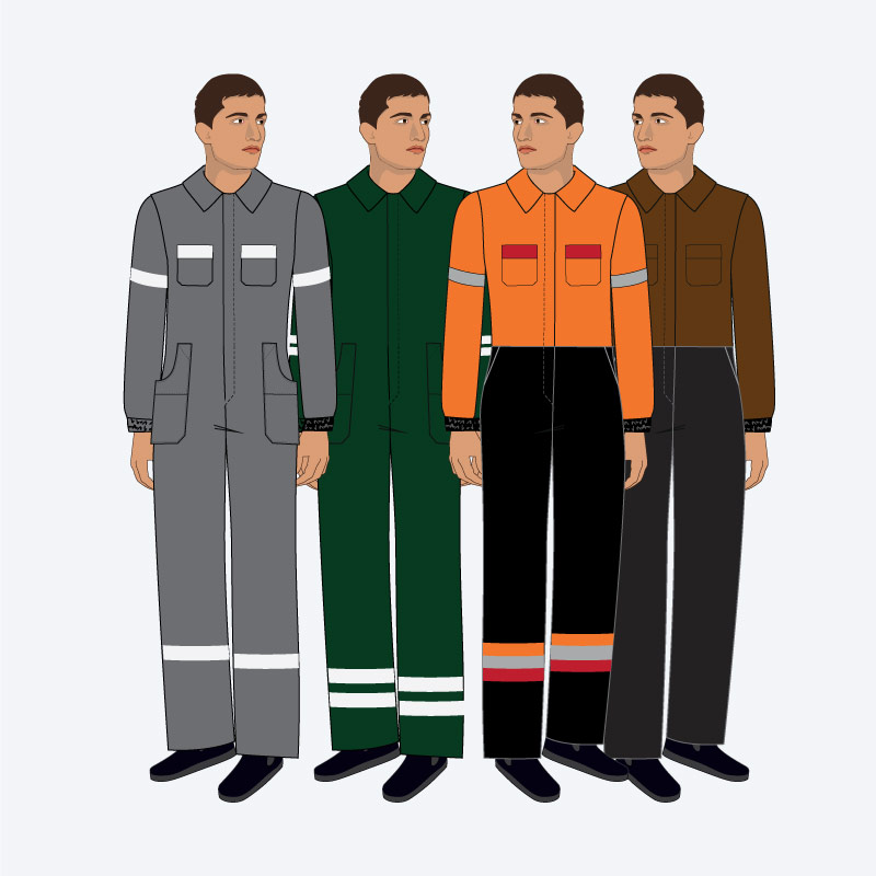 Fardas e uniformes para profissionais da indústria petrolífera